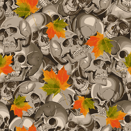 Seamless Vector Skull And Maple Leaves Pattern Illustration