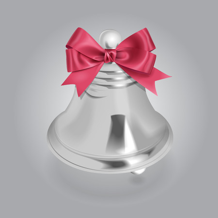 article icon: Vector Silver Bell Illustration With Bow