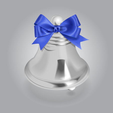 Vector Silver Bell Illustration With Bow