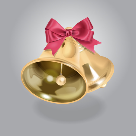 article icon: Vector Golden Bell illustration With Bow Illustration