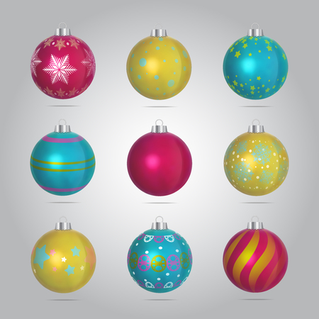 Vector Christmas Bubbles Illustration Set Illustration