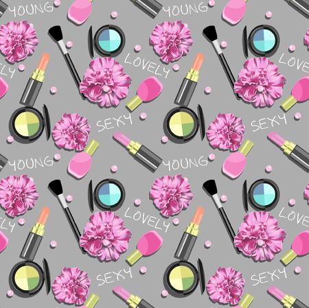 Seamless Vector Cosmetics Pattern