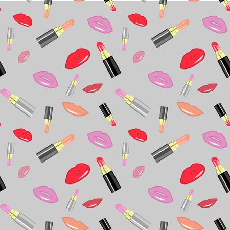 Seamless Vector Lipstick Pattern Illustration