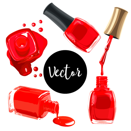 Vector Red Nails Polish Set vector illustration