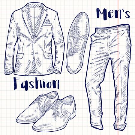 Vector Fashion Male Accessories Set Illustration