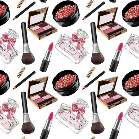 Seamless Vector Female Cosmetics Pattern Illustration