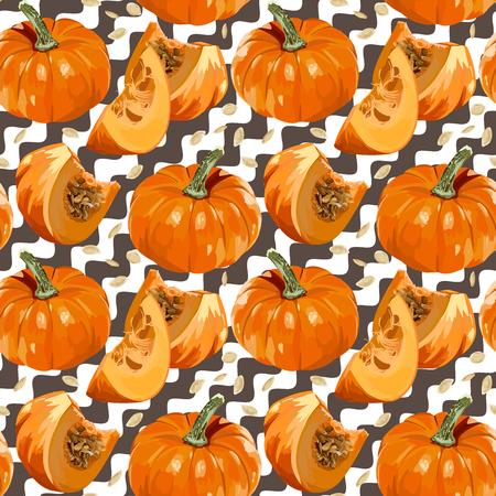 autumn background: Seamless Vector Pumpkin Pattern Illustration