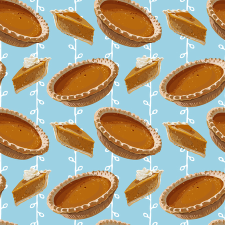 Seamless Vector Pumpkin Pie Pattern