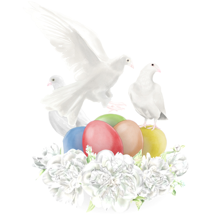 Watercolor Easter Doves Illustration