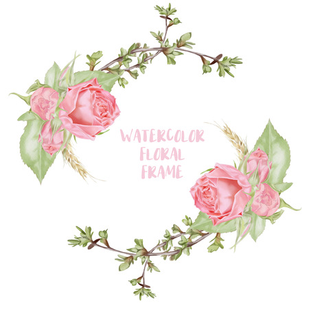 Watercolor Roses Frame Template Stock Photo