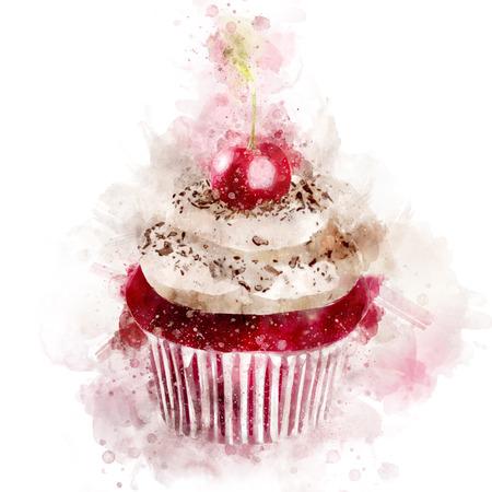 Watercolor Sweet Cupcake Illustration Stock Photo