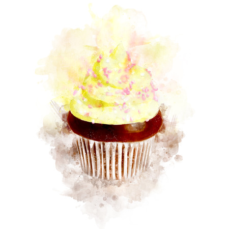 Watercolor Sweet Cupcake Illustration Stock Photo