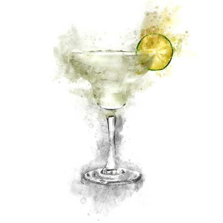 Watercolor Margarita Cocktail Illustration Фото со стока
