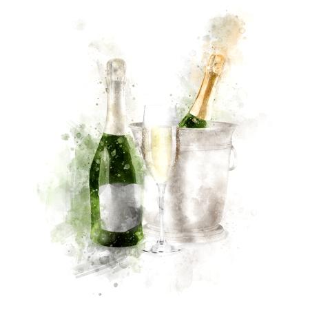 Waterverf Champagne Met Glazen Illustratie Stockfoto - 86563369