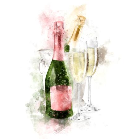 メガネ イラスト水彩シャンパン