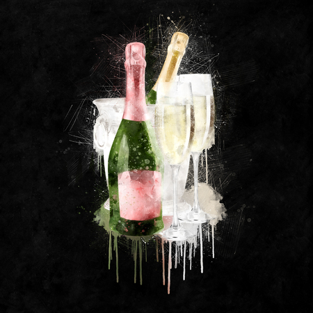 champagne celebration: Watercolor Champagne With Glasses Illustration
