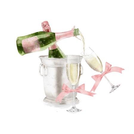 Waterverf Champagne Met Glazen Illustratie