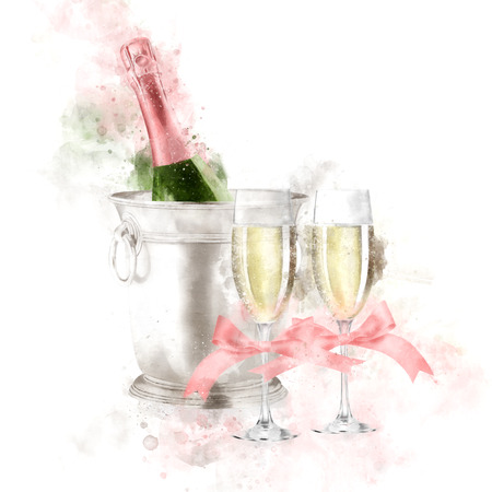Watercolor Champagne With Glasses Illustration Stok Fotoğraf - 86563370