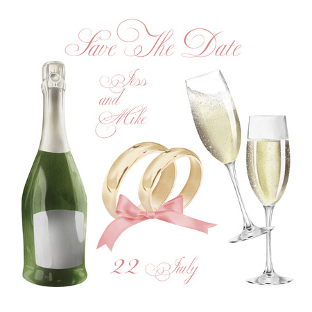 Watercolor Wedding Rings With Champagne Illustration Stock Photo