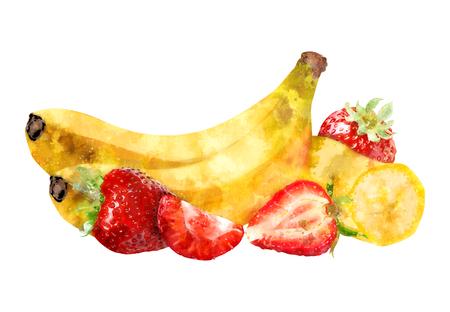 calendar design: Watercolor Banana With Strawberries Illustration