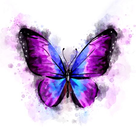 Watercolor Purple Butterfly Illustration