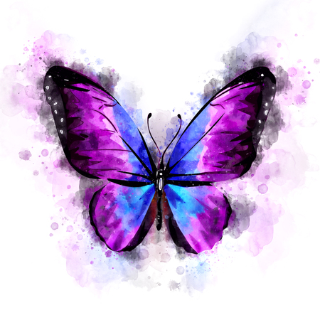 Watercolor Purple Butterfly Illustration