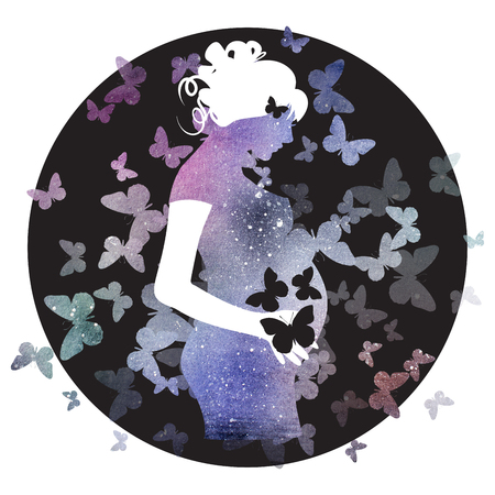 Watercolor Space Pregnant Girl Illustration
