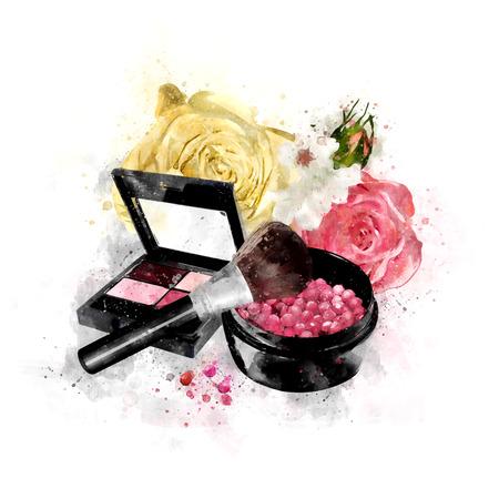 Watercolor Female Cosmetics Illustration Stock Photo