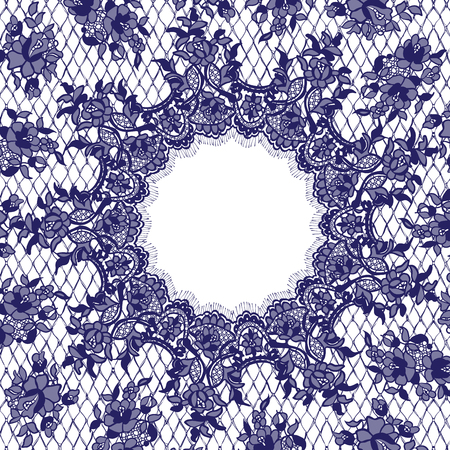 Vector Blue Lace Frame Template