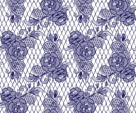Seamless Vector Blue Lace Pattern