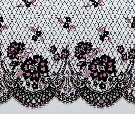 Seamless Vector Black And Pink Lace Pattern Illusztráció