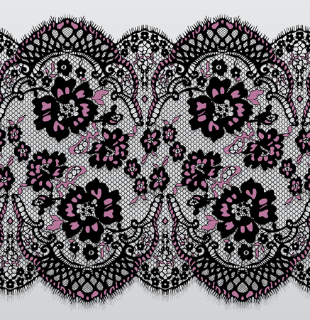 Seamless Vector Black And Pink Lace Pattern Illustration