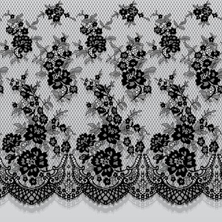 Patrón de encaje negro vector transparente Foto de archivo - 90374180