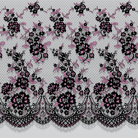 Seamless Vector Black And Pink Lace Pattern.