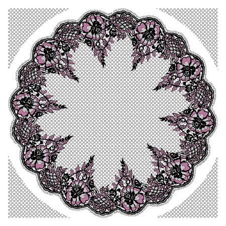 Vector Black And Pink Lace Frame Templed Illustration