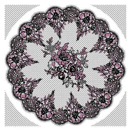 alte: Vector Black And Pink Lace Frame Templed Illustration