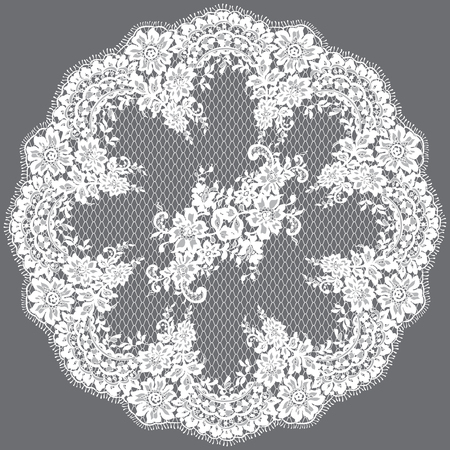 Vector White Lace Frame Template Illustration