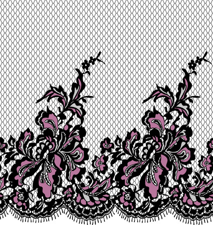 alte: Seamless Vector Black And Pink Lace Pattern Illustration