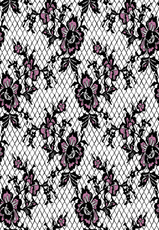 Seamless Vector Black And Pink Lace Pattern Ilustrace
