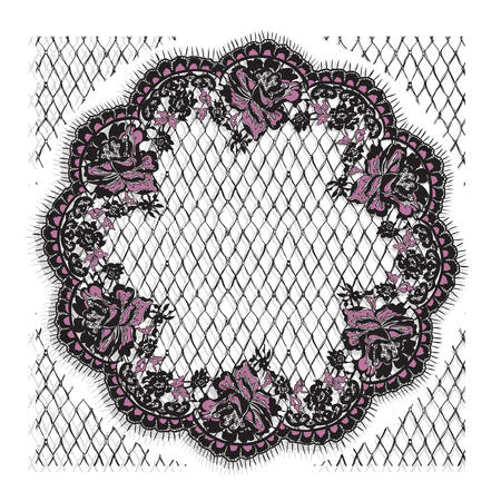 Vector Black And Pink Lace Frame Template
