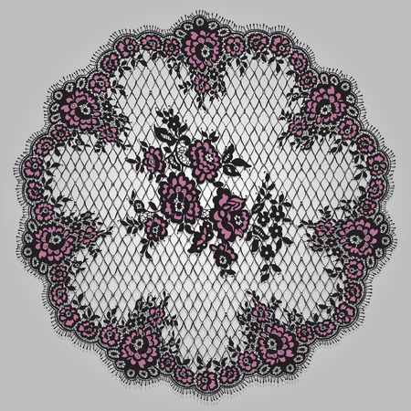 Vector Black And Pink Lace Template Ilustracja