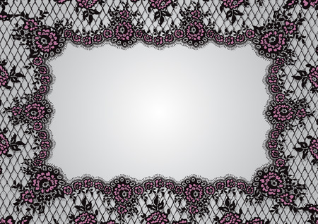 Vector Doily Black And Pink Lace Frame Template