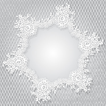 Vector White Lace Frame Template Ilustracja