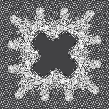 Vector White Lace Frame Template Zdjęcie Seryjne