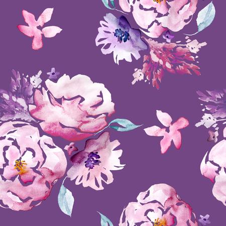 Acuarela inconsútil dibujado a mano patrón floral Foto de archivo - 89861500