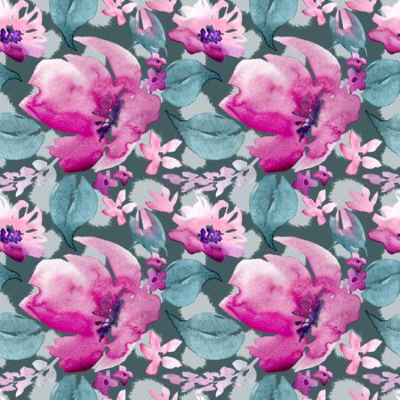 Acuarela inconsútil dibujado a mano patrón floral Foto de archivo - 89861502