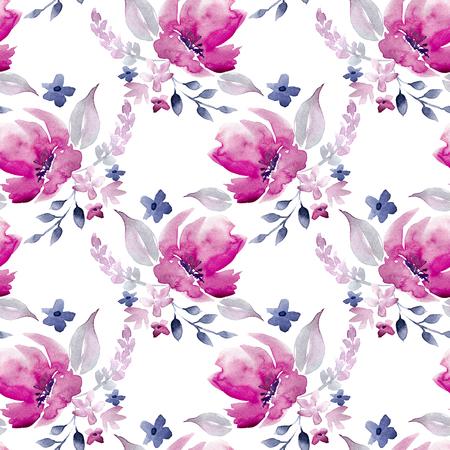Seamless Watercolor Hand Drawn Floral Pattern Stock fotó