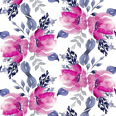 원활한 수채화 손으로 그려진 플로랄 패턴
