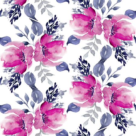 Seamless Watercolor Hand Drawn Floral Pattern Reklamní fotografie