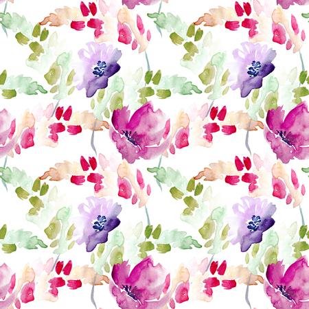 Seamless Watercolor Hand Drawn Floral Pattern Zdjęcie Seryjne
